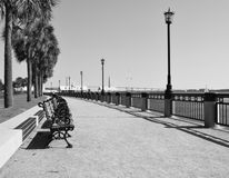 Observation Deck. A place for sitting in the Pineapple Park. Overlooks the Ashley River Stock Image