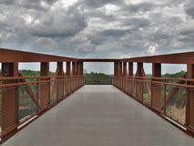 Observation Deck at Quarry Park in Winston-Salem. Once an old granite quarry, the mostly wooded 200 acres was acquired by the city and in 2017 opened as Forsyth royalty free stock image