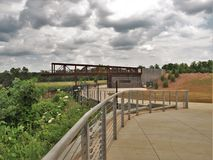 Observation Deck at Quarry Park in Winston-Salem. Once an old granite quarry, the mostly wooded 200 acres was acquired by the city and in 2017 opened as Forsyth royalty free stock photography