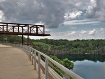 Observation Deck at Quarry Park in Winston-Salem. Once an old granite quarry, the mostly wooded 200 acres was acquired by the city and in 2017 opened as Forsyth stock image