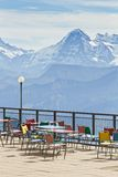 Observation deck and restaurant in the high Alps in Switzerland Stock Photography