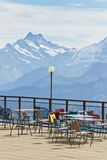 Observation deck and restaurant in the high Alps in Switzerland stock images