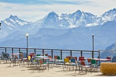 Observation deck and restaurant in the high Alps in Switzerland Stock Photos