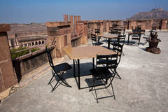 Observation deck on the roof of the ancient fortress with an empty restaurant Royalty Free Stock Photography
