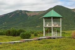 Observation deck at the Uzon Caldera. Kronotsky Nature Reserve on Kamchatka Peninsula Stock Photos