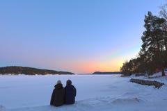 Observation du coucher du soleil Images stock