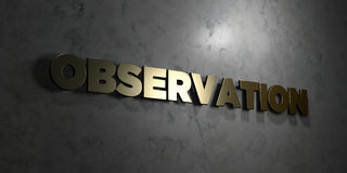Observation - Gold text on black background - 3D rendered royalty free stock picture Stock Photo