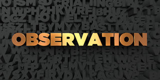Observation - Gold text on black background - 3D rendered royalty free stock picture Stock Photos