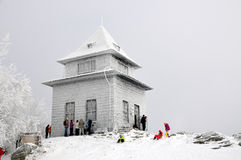 Observation hut on the hill in winter Sitno Stock Photography