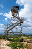 Observation military tower. On the hill against the blue sky Royalty Free Stock Image