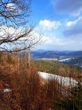 Observation place in  Bukovel, Carpathian mountains. Observation deck carpathian mountains near bukovel forest top carpathians over ukraine ski resort amazing stock images