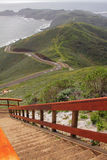 Observation point and hills by ocean Stock Photos