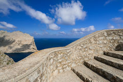Observation point near Cape Formentor in Mallorca. Stone steps near Cape Formentor in Mallorca, Balearic island, Spain Stock Photography