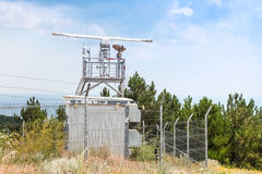 Observation radar station tower with devices Royalty Free Stock Images