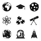 Observation of satellite icons set, simple style. Observation of satellite icons set. Simple set of 9 observation of satellite vector icons for web isolated on Royalty Free Stock Photography