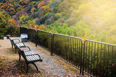 Observation seats for autumn color, Arashiyama. Top view observation relax seats to enjoy autumn foliage with sunlight in Arashiyama, Kyoto, Japan Royalty Free Stock Photography
