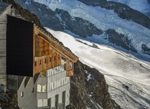 Observation station and Aletsch Glacier stock photography