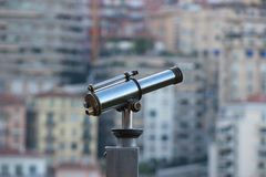 Observation telescope closeup with blurred background royalty free stock images