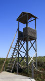 Observation tower. A wood observation tower and a blue sky Stock Image