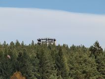 Observation tower above the tree tops. Czech Republic Royalty Free Stock Photos