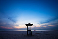 Observation tower on the beach with sunrise Royalty Free Stock Photography