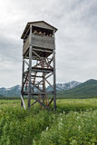 Observation tower of bears and wildlife. Kamchatka, nature park Nalychevo Stock Photos