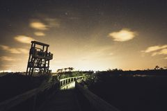 Observation Tower at Big Lagoon State Park. At Night in Florida stock image