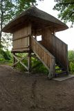 Observation tower for bird watching at the pond Stock Image