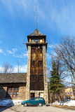 The Observation Tower of the Fire Department. ZAKOPANE, POLAND - MARCH 10, 2015: The Observation Tower of the former Fire Department, the seat of State Fire royalty free stock photo