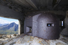 Observation tower - fort Malamot. Vallo Alpino, Mont Cenis WW2 royalty free stock photography