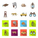 Observation tower for the hunter, leopard, hunting machine, binoculars. African safari set collection icons in cartoon. Flat style vector symbol stock Royalty Free Stock Photo