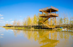 Observation tower in lake side Royalty Free Stock Photo