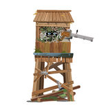 Observation tower with machine gunner Stock Photography