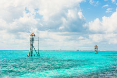 Observation tower in the tropical ocean Stock Photo