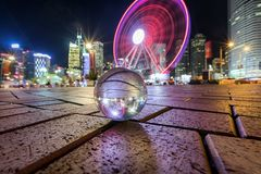 The Observation Wheel in Hong Kong by night royalty free stock photo