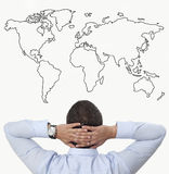 Observation on the world map Royalty Free Stock Images