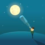 Observationer av månen till och med ett teleskop Arkivbild