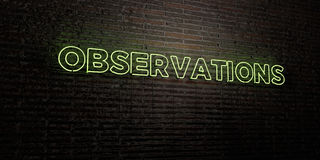 OBSERVATIONS -Realistic Neon Sign on Brick Wall background - 3D rendered royalty free stock image Stock Photo