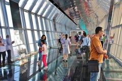 Observationsdäck i finansiell mitt för Shanghai värld arkivbild