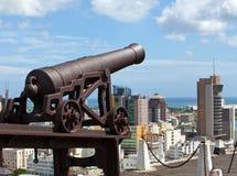 Observationsdäck i fortet Adelaide på den Port Louis huvudstaden av Mauritius Fotografering för Bildbyråer