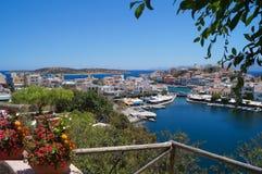 Observationsdäcket av Agios Nikolaos Crete Greece 17th Juli 2014 Royaltyfri Bild