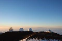 Observatoires de Keck au coucher du soleil Image stock