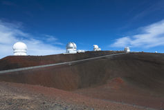 Observatories along crater rim Stock Photography