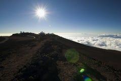 Observatories in Haleakala National Park, Maui, Hawaii Stock Image