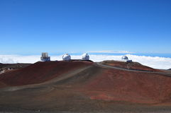 Observatories on Mauna Kea - Big Island, Hawaii Royalty Free Stock Photos