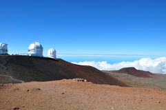Observatories on Mauna Kea - Big Island, Hawaii Royalty Free Stock Photo