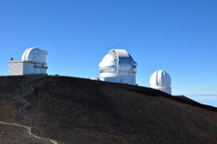 Observatories on Mauna Kea - Big Island, Hawaii Royalty Free Stock Images