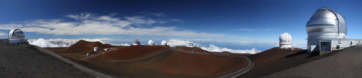 Observatories at Mauna Kea (Hawaii) Stock Images