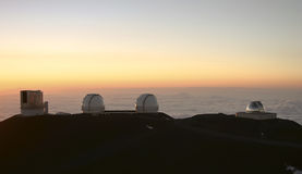 Observatories on Mauna Kea Hawaii Royalty Free Stock Photo
