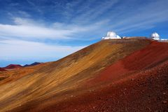 Observatories on top of Mauna Kea mountain peak. Astronomical research facilities and large telescope observatories located at the. Summit of Mauna Kea on the Stock Images